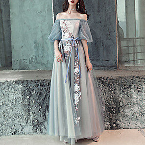 cheap Prom Dresses-A-Line Floral Blue Engagement Prom Dress Off Shoulder Half Sleeve Floor Length Tulle with Embroidery Appliques 2020