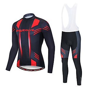 cheap Wired Earbuds-EVERVOLVE Men's Long Sleeve Cycling Jersey with Bib Tights Polyester Red+Black Black / White Geometic Bike Clothing Suit Thermal / Warm Breathable 3D Pad Quick Dry Sweat-wicking Sports Solid Color