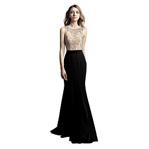 cheap Abstract Paintings-Mermaid / Trumpet Luxurious Sparkle Wedding Guest Formal Evening Dress Illusion Neck Sleeveless Court Train Satin with Sash / Ribbon Bow(s) Beading 2020