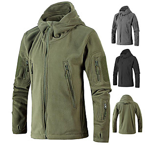 cheap Softshell, Fleece & Hiking Jackets-Men's Hiking Jacket Military Tactical Jacket Hiking Fleece Jacket Winter Outdoor Thermal / Warm Windproof Breathable Stretchy Winter Jacket Top Fleece Single Slider Hunting Fishing Climbing Black