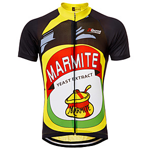 cheap Cycling Jerseys-21Grams Retro Novelty Men's Short Sleeve Cycling Jersey - Black / Yellow Bike Jersey Top Breathable Quick Dry Moisture Wicking Sports Terylene Mountain Bike MTB Clothing Apparel / Micro-elastic