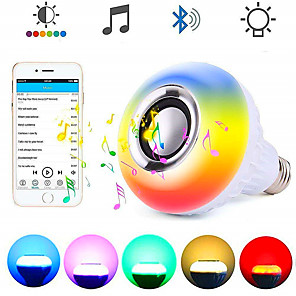 cheap LED Smart Bulbs-LOENDE Smart E27 RGB Wireless Bluetooth Speaker Bulb 12W Music Playing Dimmable Audio with 24 Keys Remote Control