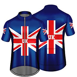 cheap Cycling Jerseys-21Grams Men's Short Sleeve Cycling Jersey Red+Blue UK National Flag Bike Jersey Top Mountain Bike MTB Road Bike Cycling UV Resistant Breathable Quick Dry Sports Clothing Apparel / Stretchy / Race Fit