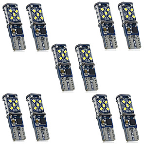 cheap Car DVD Players-10pcs DC12-24V Canbus W5W Car Light Clearance T10 15SMD LED No error Bulbs trunk signal 194 White Side Marker Lights