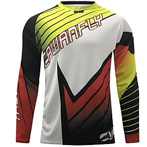 cheap Cycling Jerseys-CAWANFLY Men's Long Sleeve Cycling Jersey Downhill Jersey Dirt Bike Jersey Winter Polyester Black Stripes Patchwork Novelty Bike Jersey Top Mountain Bike MTB Breathable Quick Dry Sweat-wicking Sports