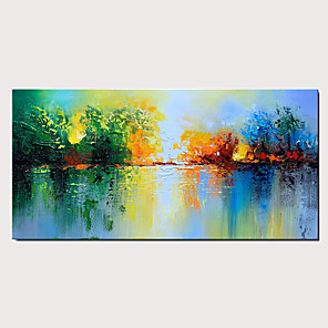 cheap Abstract Paintings-Handmade Oil Painting on Canvas Green Abstract Decoration Knife Painting Wall Art Lake Scenery Artwor