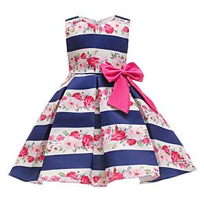 cheap Movie & TV Theme Costumes-Kids Toddler Girls' Basic Cute Floral Print Sleeveless Knee-length Dress Blue