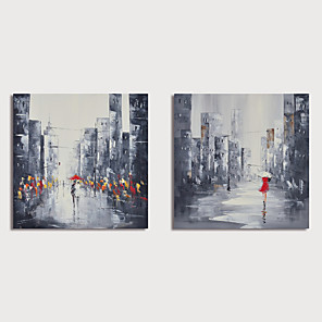 cheap Abstract Paintings-Hand Painted Canvas Oilpainting Abstract Street Landscape Set of 2 Home Decoration with Frame Painting Ready to Hang