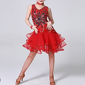 cheap Latin Dancewear-Latin Dance Dress Tiered Paillette Women's Performance Polyester
