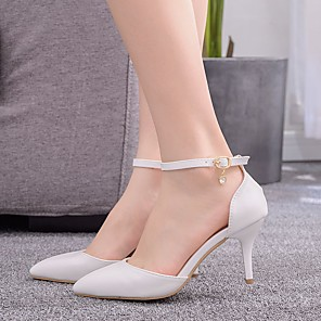 cheap Wedding Shoes-Women's Wedding Shoes Stiletto Heel Pointed Toe Buckle PU Spring & Summer / Fall & Winter White / Party & Evening