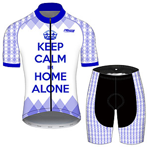cheap Cycling Jersey & Shorts / Pants Sets-21Grams Men's Short Sleeve Cycling Jersey with Shorts Violet Plaid / Checkered Crown Bike Clothing Suit UV Resistant Breathable 3D Pad Quick Dry Sweat-wicking Sports Plaid / Checkered Mountain Bike