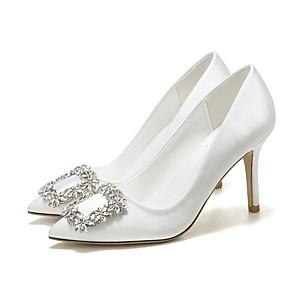 cheap Wedding Shoes-Women's Wedding Shoes Stiletto Heel Pointed Toe Rhinestone PU Spring & Summer White