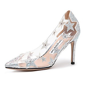 cheap Wedding Shoes-Women's Wedding Shoes Transparent Shoes Stiletto Heel Pointed Toe Microfiber Spring & Summer Almond / Nude / Black