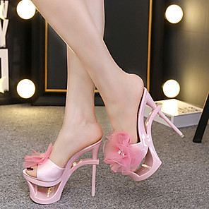 cheap Wedding Shoes-Women's Sandals Sculptural Heel Round Toe Satin Flower Satin Classic Summer Black / Almond / Blue / Party & Evening