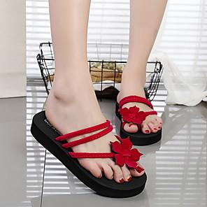 cheap Women's Sandals-Women's Slippers & Flip-Flops Flat Heel Open Toe EVA(ethylene-vinyl acetate copolymer) Summer Fuchsia / Black