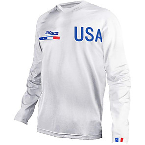 cheap Cycling Jerseys-21Grams Men's Long Sleeve Cycling Jersey Downhill Jersey Dirt Bike Jersey Blue White American / USA National Flag Bike Jersey Top Mountain Bike MTB Road Bike Cycling UV Resistant Breathable Quick Dry