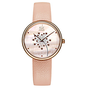cheap Quartz Watches-Women's Quartz Watches Luxury Fashion Genuine Leather Japanese Quartz Blushing Pink Black Water Resistant / Waterproof 30 m 1 pc Analog One Year Battery Life