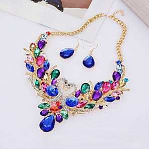 cheap Jewelry Sets-Women's Jewelry Set Hollow Out Swan Statement Imitation Diamond Earrings Jewelry White / Red / Rainbow For Party Evening 1 set