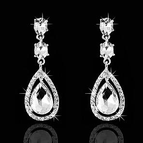 cheap Earrings-Women's Cubic Zirconia Hoop Earrings Classic Drop Love Classic Vintage Imitation Diamond Earrings Jewelry White For Wedding Party 1 Pair