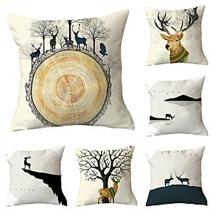 cheap Pillow Covers-Set of 6 Throw Pillow Simple Classic 45*45 cm Cushion Vintage Circle Cover Sofa Home Decor Throw Pillow Case