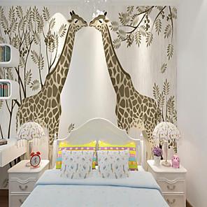 cheap Wallpaper-Custom self-adhesive mural wallpaper two giraffes children cartoon style suitable for bedroom children's room school party Wallpaper / Mural / Wall Cloth Room Wallcovering