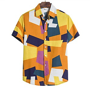 cheap Abstract Paintings-Men's Plus Size Color Block Shirt Sports Blue / Purple / Green / Short Sleeve