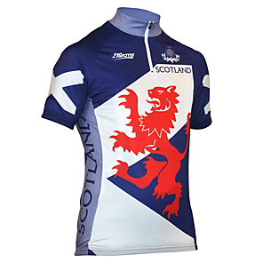 cheap Cycling Jersey & Shorts / Pants Sets-21Grams Men's Short Sleeve Cycling Jersey Spandex Polyester Blue / White Dragon Scotland National Flag Bike Jersey Top Mountain Bike MTB Road Bike Cycling UV Resistant Breathable Quick Dry Sports