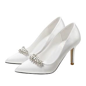 cheap Wedding Shoes-Women's Wedding Shoes Stiletto Heel Pointed Toe Rhinestone Microfiber Spring & Summer Wine / White / Champagne