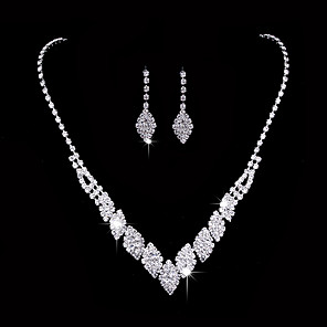 cheap Hair Jewelry-Women's Silver Synthetic Diamond Bridal Jewelry Sets Earrings Set Stylish Artistic Classic Sweet Elegant Earrings Jewelry Silver For Wedding Party Evening Engagement Formal Festival 3pcs