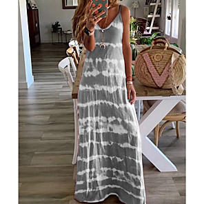 cheap Maxi Dresses-Women's Strap Dress Maxi long Dress - Sleeveless Tie Dye Summer Casual Vacation Beach Wine Blue Purple Blushing Pink Khaki Gray Light Blue S M L XL XXL XXXL XXXXL XXXXXL