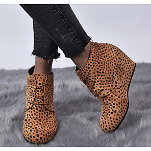 cheap Women's Boots-Women's Boots Wedge Heel Round Toe PU Spring & Summer Black / Yellow / Gray