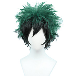cheap Synthetic Trendy Wigs-Cosplay Costume Wig Synthetic Wig Loose Curl Halloween Asymmetrical Wig Short Black / Green Synthetic Hair 8 inch Men's Best Quality Fluffy Green