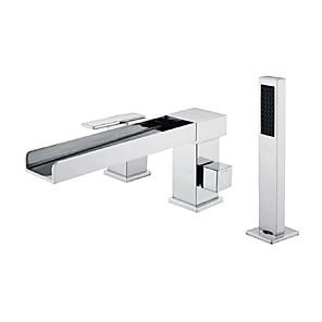 cheap Bathtub Faucets-Bathtub Faucet -3 Holes Waterfall Bathtub Mixer Tap Chrome Bathroom Shower Faucet
