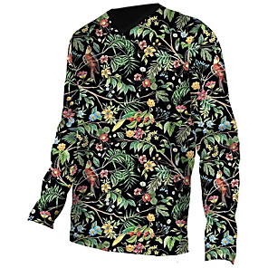 cheap Cycling Jerseys-21Grams Men's Long Sleeve Cycling Jersey Downhill Jersey Dirt Bike Jersey Spandex Polyester Black / Green Animal Floral Botanical Bird Bike Jersey Top Mountain Bike MTB Road Bike Cycling UV Resistant