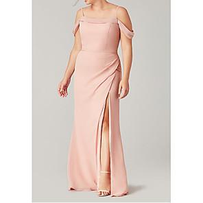 cheap Wedding Wraps-Sheath / Column Off Shoulder Floor Length Polyester Bridesmaid Dress with Pleats / Split Front