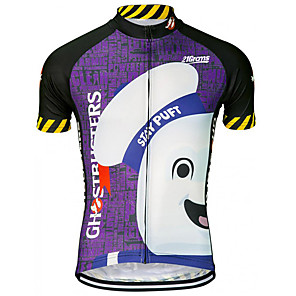 cheap Cycling Jerseys-21Grams Men's Short Sleeve Cycling Jersey Spandex Polyester Purple Cartoon Bike Jersey Top Mountain Bike MTB Road Bike Cycling UV Resistant Breathable Quick Dry Sports Clothing Apparel / Stretchy