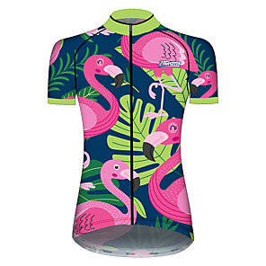 cheap Cycling Jerseys-21Grams Women's Short Sleeve Cycling Jersey Spandex Polyester Pink+Green Flamingo Animal Floral Botanical Bike Jersey Top Mountain Bike MTB Road Bike Cycling UV Resistant Breathable Quick Dry Sports