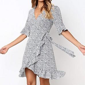 cheap Women's Heels-Women's A Line Dress - Half Sleeve Print V Neck White S M L XL XXL