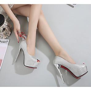 cheap Women's Heels-Women's Heels Stiletto Heel Peep Toe PU Spring & Summer Black / Silver