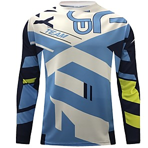 cheap Cycling Jerseys-CAWANFLY Men's Long Sleeve Cycling Jersey Downhill Jersey Dirt Bike Jersey Winter Polyester Black Plaid / Checkered Geometic Novelty Bike Jersey Top Mountain Bike MTB Breathable Quick Dry / Expert