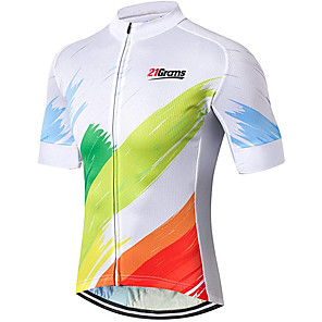 cheap Cycling Jerseys-21Grams Men's Short Sleeve Cycling Jersey Spandex Polyester White Rainbow Gradient Bike Jersey Top Mountain Bike MTB Road Bike Cycling UV Resistant Breathable Quick Dry Sports Clothing Apparel