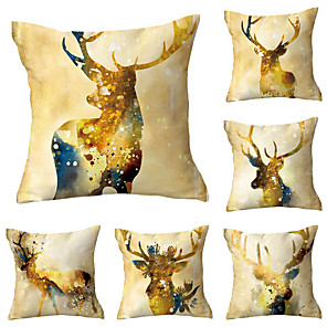 cheap Throw Pillow Covers-Set of 6 Polyester Pillow Cover, Animal Holiday Modern Christmas Square Traditional Classic Throw Pillow