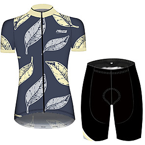 cheap Cycling Jersey & Shorts / Pants Sets-21Grams Women's Short Sleeve Cycling Jersey with Shorts Blue+Yellow Leaf Floral Botanical Bike Clothing Suit Breathable 3D Pad Quick Dry Ultraviolet Resistant Sweat-wicking Sports Solid Color