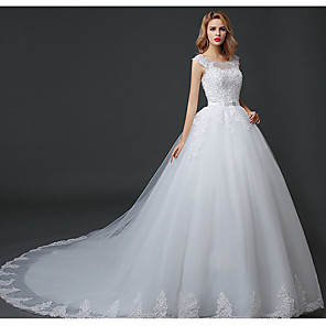 cheap Latin Dancewear-Ball Gown Wedding Dresses Scoop Neck Court Train Lace Tulle Polyester Short Sleeve Romantic with Lace Beading 2020