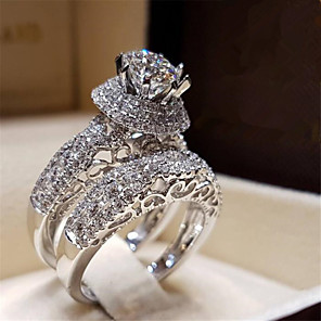 cheap Fine Jewelry-Women's Ring Cubic Zirconia 1pc White Copper Gold Plated Round Stylish Party Evening Engagement Jewelry Hollow Out Flower