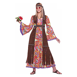 cheap Historical & Vintage Costumes-Hippie Diva Disco 1980s Dress Outfits Vest Headwear Women's Costume Red Vintage Cosplay Party Long Sleeve