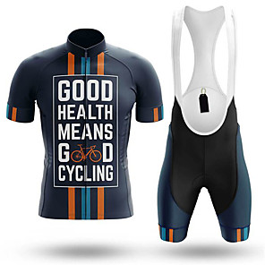 cheap Cycling Jersey & Shorts / Pants Sets-21Grams Men's Short Sleeve Cycling Jersey with Bib Shorts Blue Stripes Bike Clothing Suit UV Resistant Breathable 3D Pad Quick Dry Sweat-wicking Sports Stripes Mountain Bike MTB Road Bike Cycling