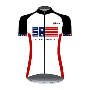 cheap Cycling Jerseys-21Grams Women's Short Sleeve Cycling Jersey Spandex Polyester Red and White American / USA Stars National Flag Bike Jersey Top Mountain Bike MTB Road Bike Cycling UV Resistant Breathable Quick Dry