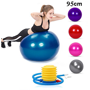 cheap Fitness Gear & Accessories-95cm Exercise Ball / Yoga Ball Professional Extra Thick Anti Slip Durable PVC Support 500 kg With Foot Pump Physical Therapy Balance Training Relieve Back Pain for Home Workout Yoga Fitness