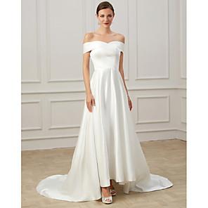cheap Ballet Dancewear-A-Line Wedding Dresses Off Shoulder Court Train Satin Short Sleeve Formal Vintage Plus Size with Draping 2020